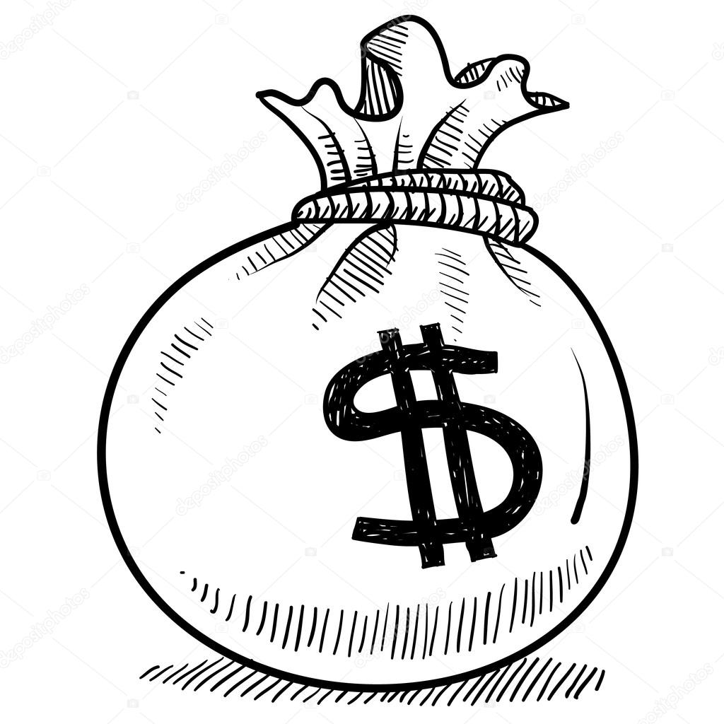 1024x1024 Money Bag Sketch Stock Vector Lhfgraphics