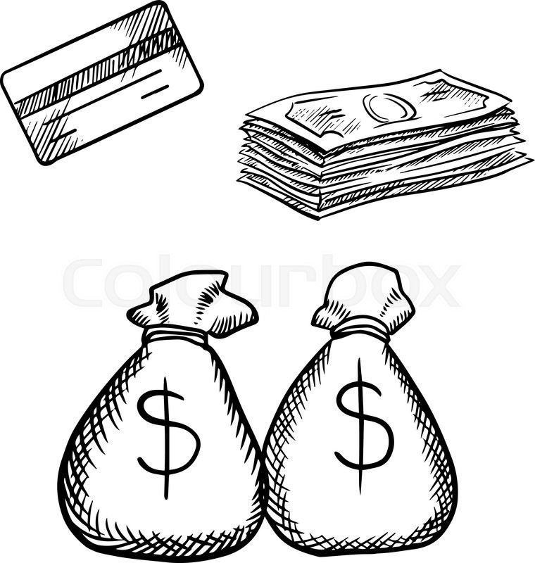 760x800 Bank Credit Card, Stack Of Dollar Bills And Money Bags With Dollar