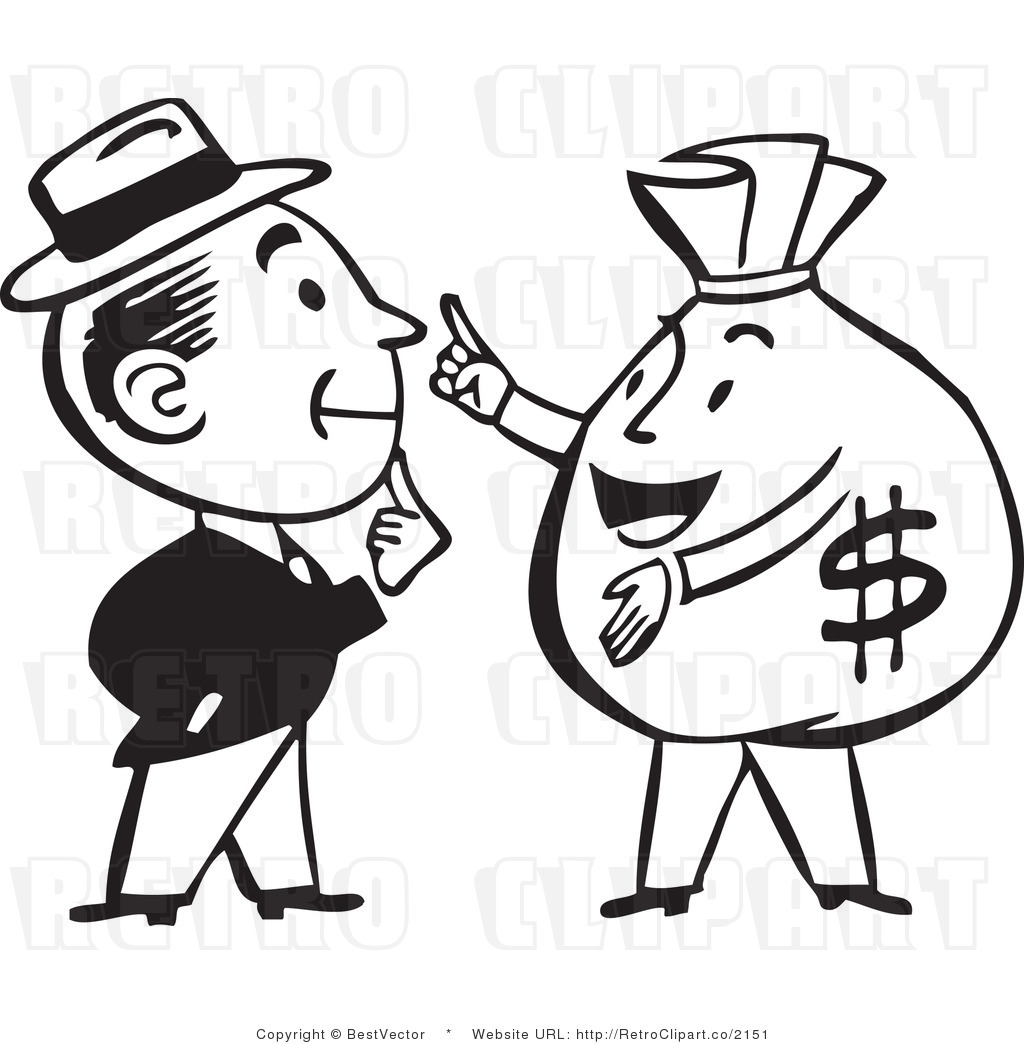 1024x1044 Retro Man Talking To A Big Money Bag Character Bestvector