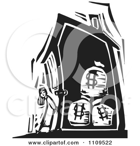 450x470 Clipart Black And White Woodcut Of Dollar Bank Money Bags