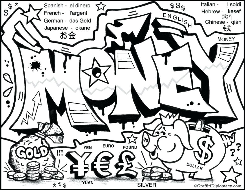 987x768 Coloring Pages Of Money A Bag Of Coins Coloring Pages Coloring