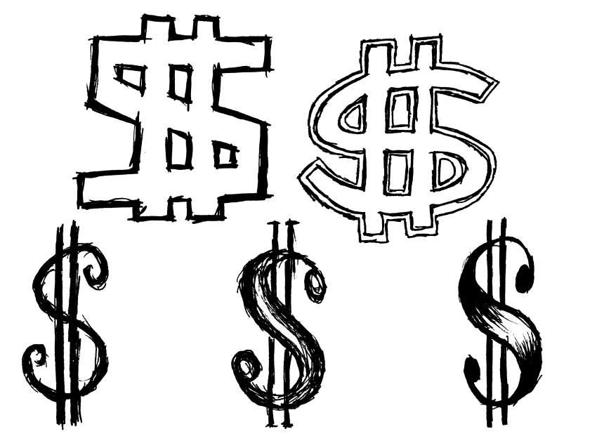 850x638 5 Dollar Sign Money Drawing (Png Transparent)