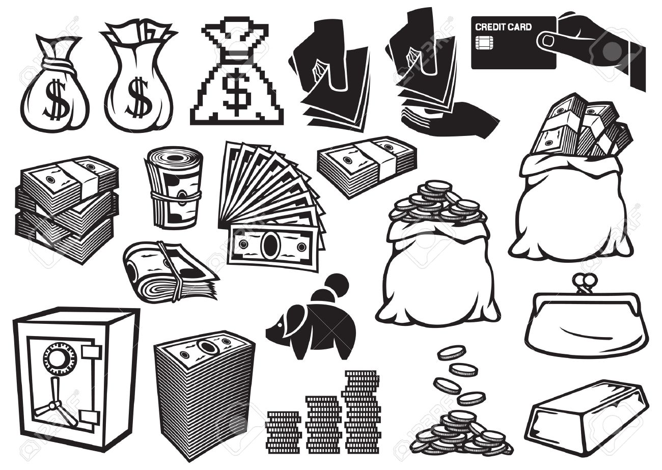 1300x923 Money Icons Set Finance Or Banking Icons, Money Bag, Bag