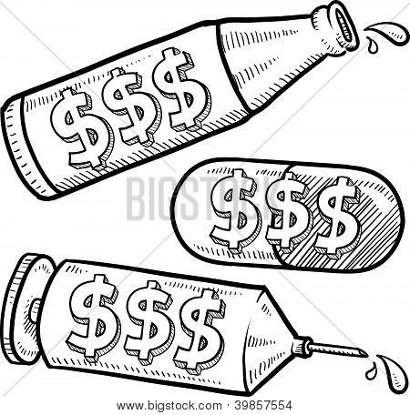 450x456 Dollar Sign Alcohol Drugs Sketch Vector Amp Photo Bigstock