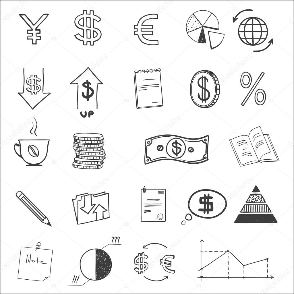 1024x1024 Hand Draw Business Finance Doodle Sketch Money Icon, Dollar Euro