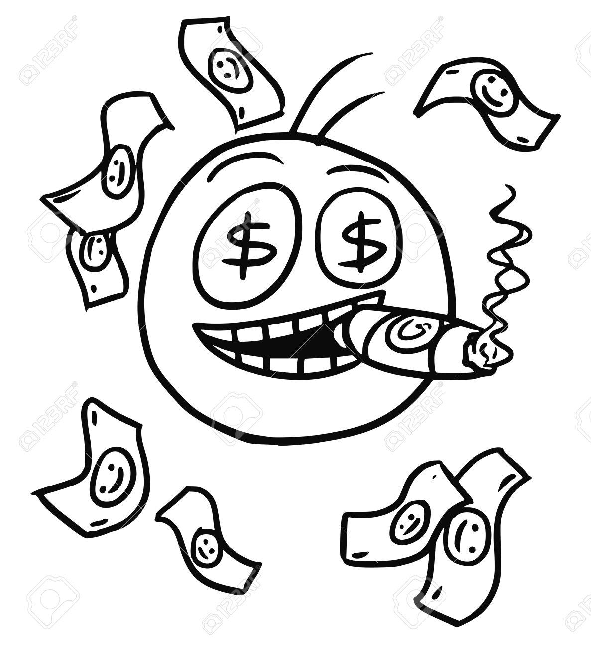 1187x1300 Cartoon Vector Of Smiling Stickman With Big Cigar,dollar Sign
