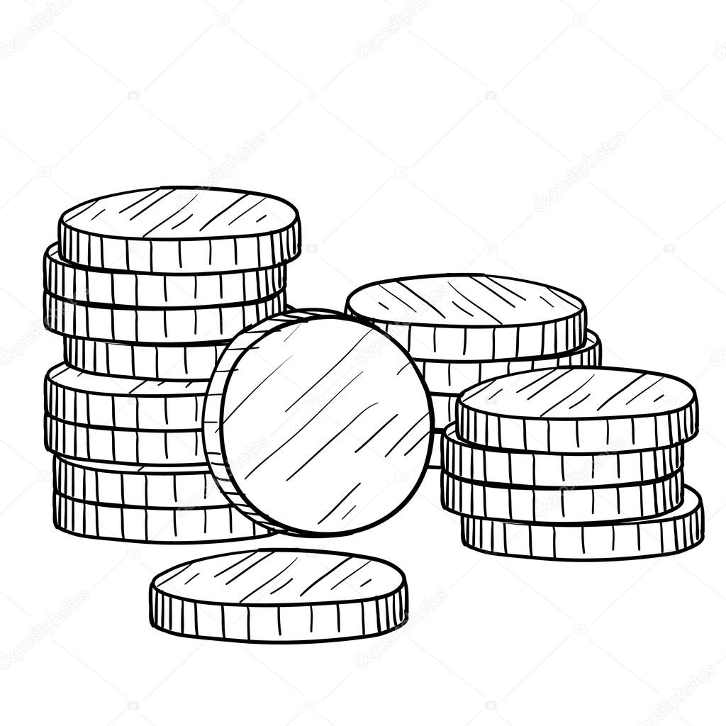 1024x1024 Stack Of Coins Sketch Stock Vector Lhfgraphics