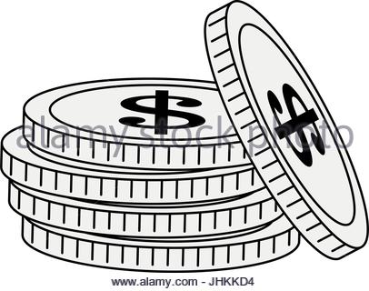 406x320 Vector Illustration Of Stack Of Money And Gold On Tray