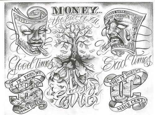 500x371 28 Best Money And Skull Tattoo Designs Images