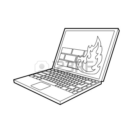 450x450 Computer Monitor And Cpu Unit Icon In Outline Style On A White