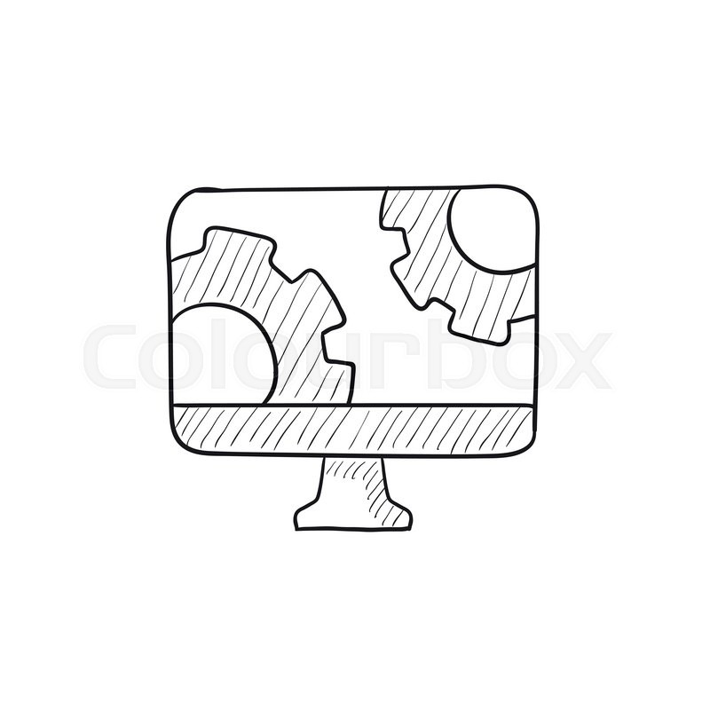800x800 Computer Monitor With Gears Vector Sketch Icon Isolated