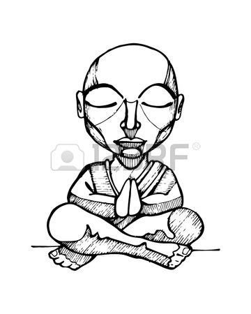360x450 Hand Drawn Vector Illustration Or Drawing Of A Cartoon Budhist