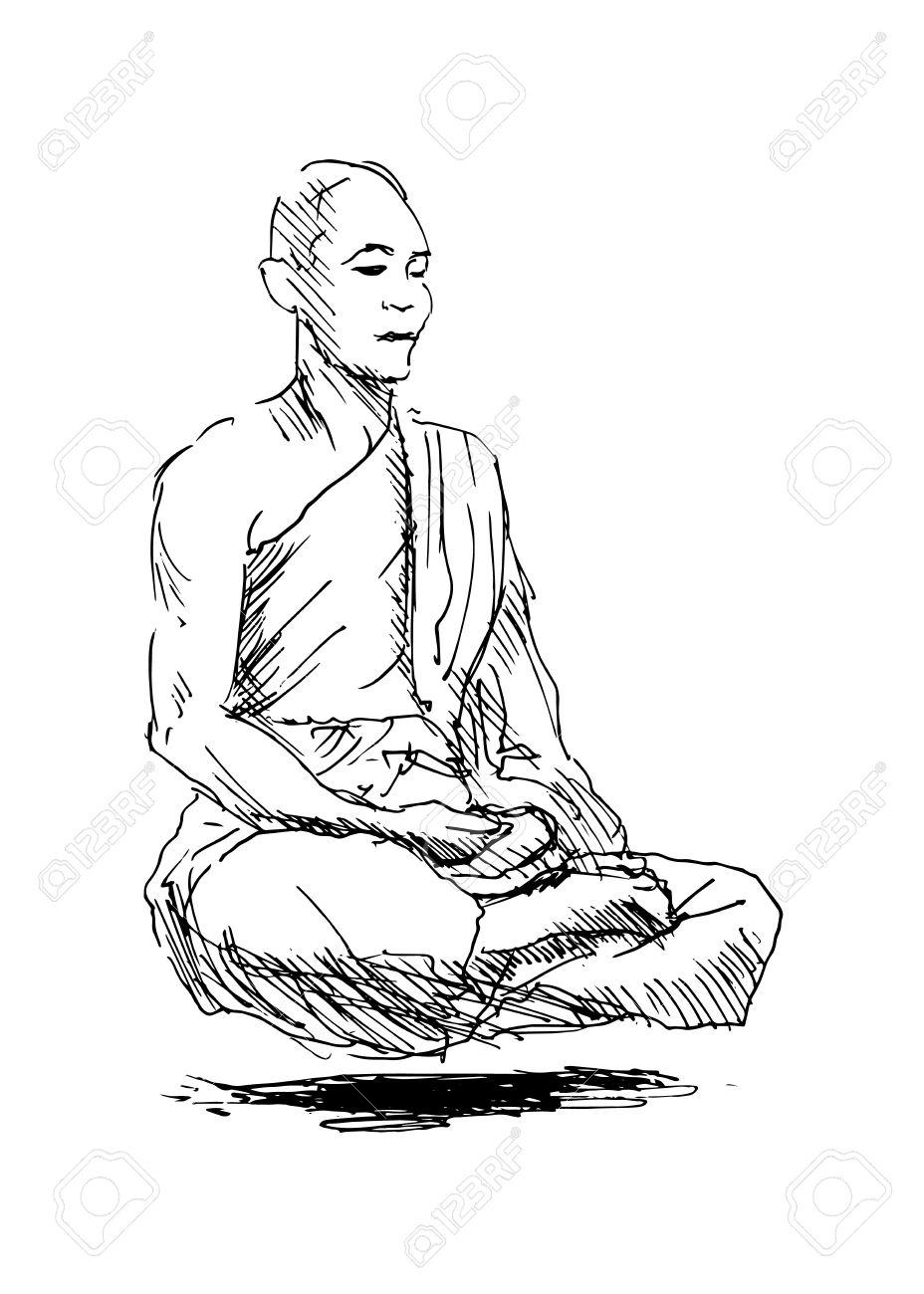 928x1300 Hand Sketch Meditating Monk Royalty Free Cliparts, Vectors,