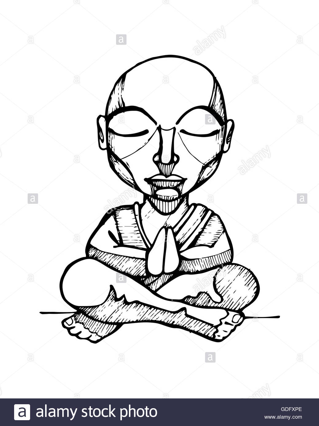 1039x1390 Hand Drawn Illustration Or Drawing Of A Cartoon Budhist Monk Stock