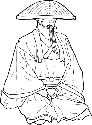 352x480 Japanese Buddhist Monk Coloring Page Free Printable Coloring Pages