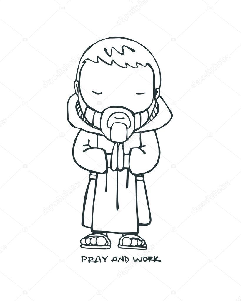 819x1024 Benedictine Monk Drawing Stock Vector Bernardojbp
