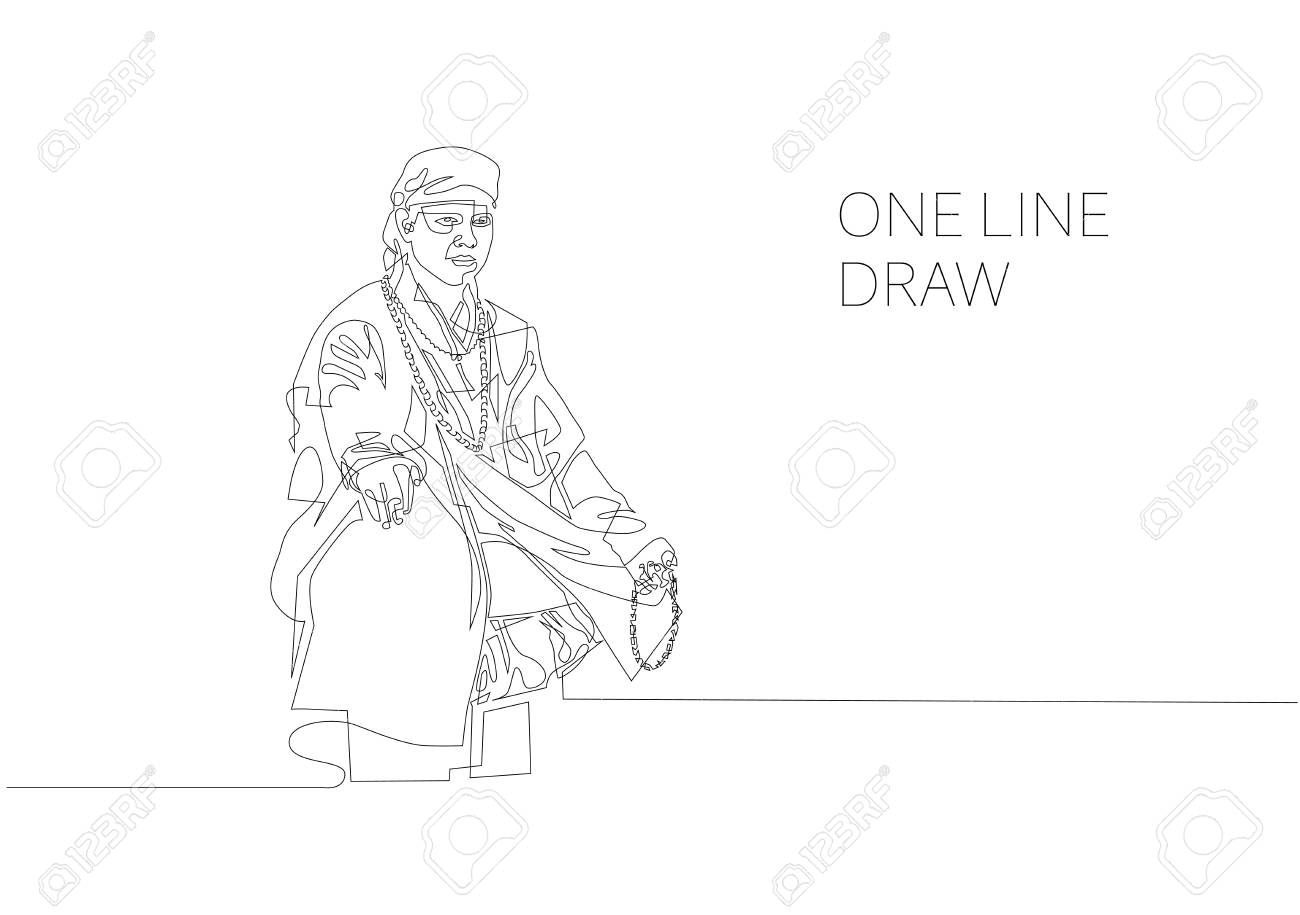 1300x915 Continuous One Line Modern Drawing Of Buddhist Monk Royalty Free