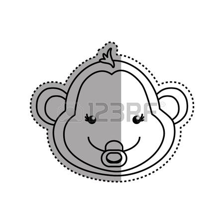 450x450 Monkey Cartoon Drawing Animal Vector Icon Illustration Royalty
