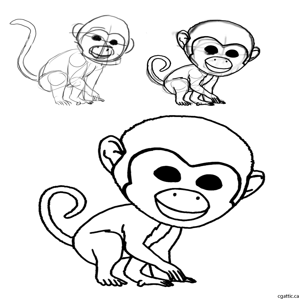 1000x1000 Monkey Cartoon Drawing In 4 Steps With Photoshop