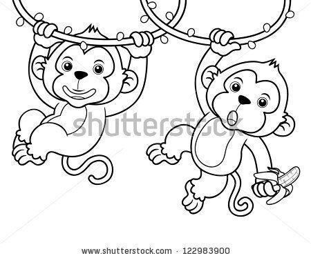 450x374 Baby Monkey Outline Illustration Of Cartoon Monkeys