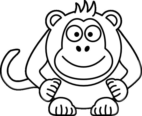 600x491 Black And White Cartoon Monkey Clip Art