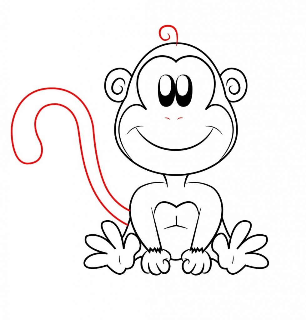 979x1024 Cartoon Drawing Of A Monkey Cartoon Drawings Of Monkeys Drawing