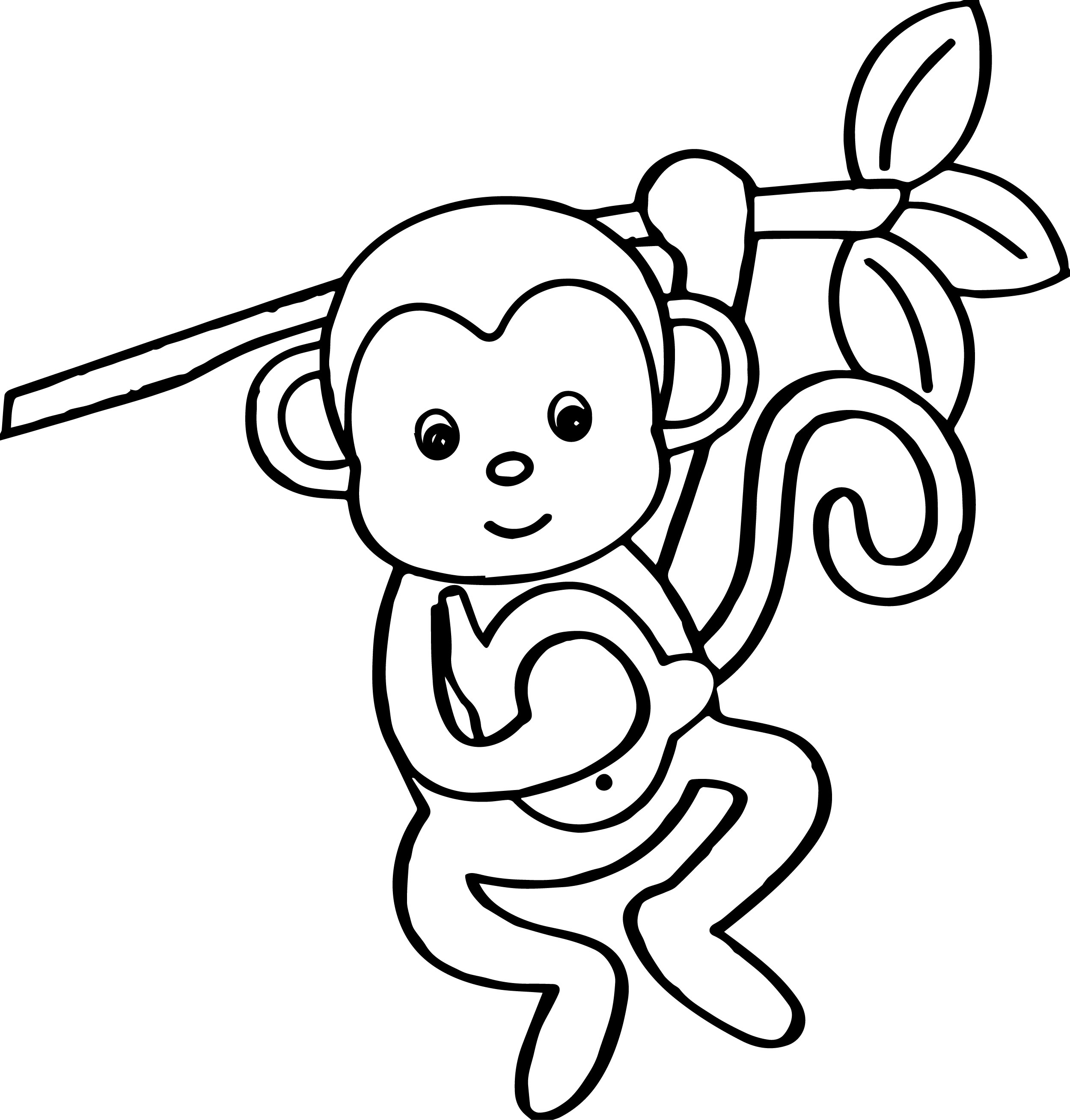 2500x2617 Coloring Pages Monkey Coloring Page Cartoon Animals Kids Pages