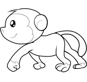 302x284 How To Draw How To Draw A Monkey For Kids
