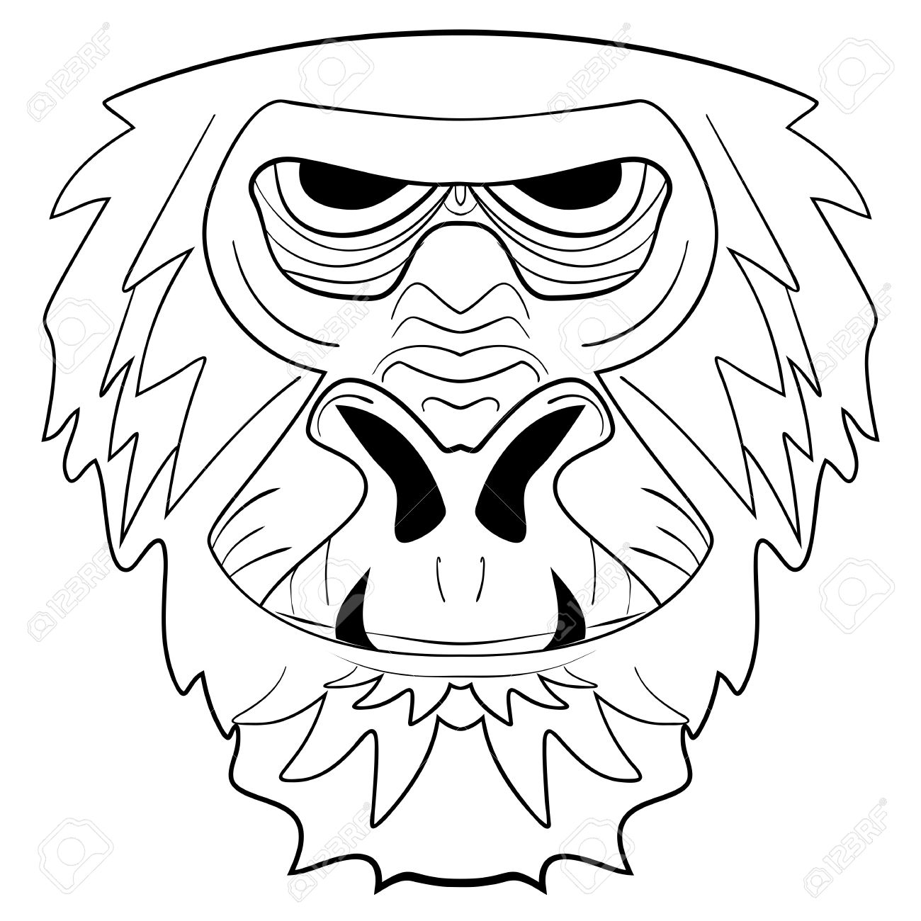 1300x1300 The Graphic Image Of The Monkey, Monkey Head, The Face. Drawing