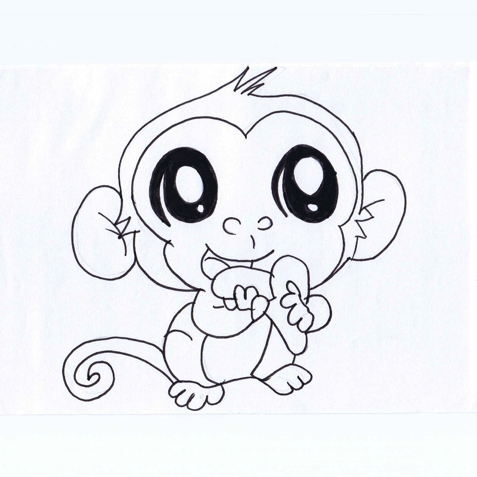 1599x1600 Drawing Cartoon Animals With Big Eyes Cute Monkey Drawing Free