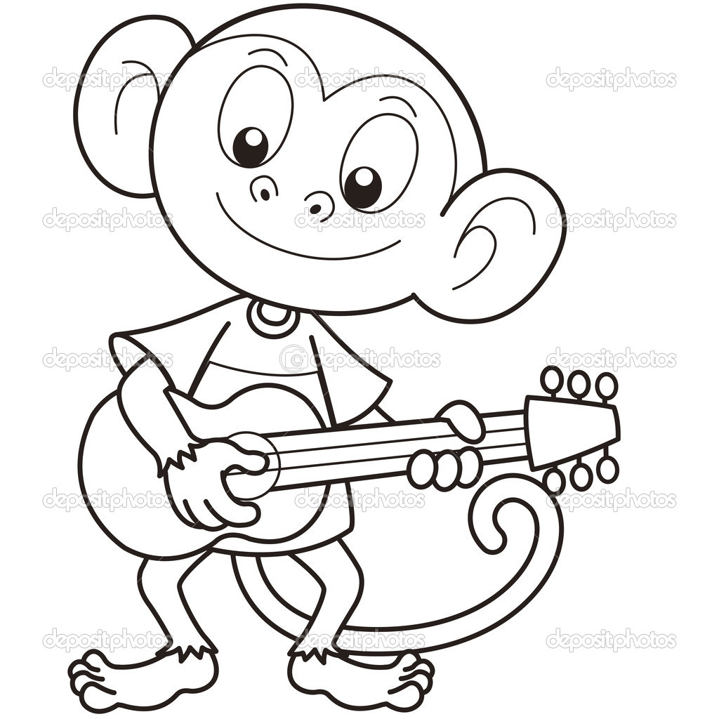 1024x1024 Cartoon Monkey Drawing Cartoon Monkey Playing A Guitar Stock