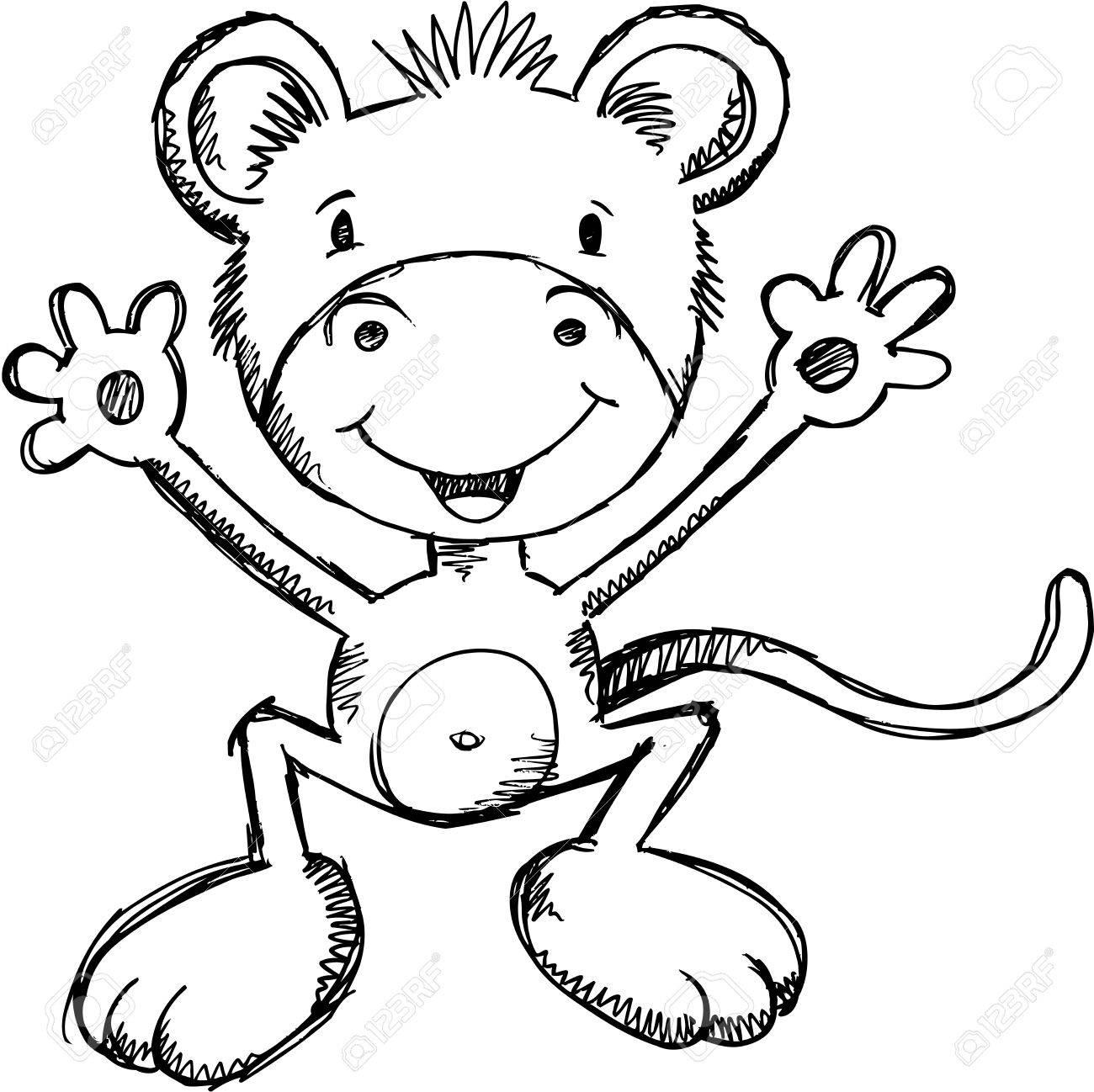 1300x1298 Cute Sketch Monkey Vector Illustration Art Royalty Free Cliparts