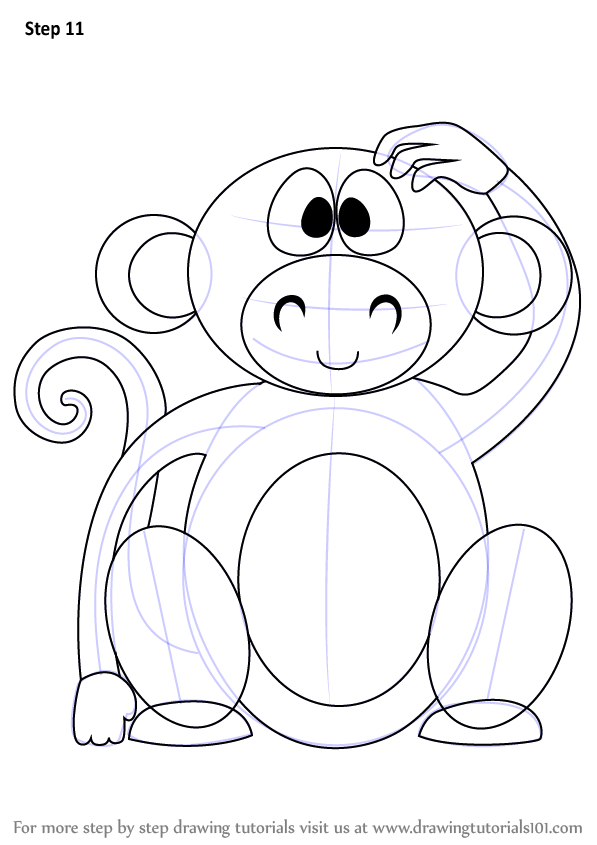 597x845 Learn How To Draw A Cute Monkey Cartoon (Zoo Animals) Step By Step