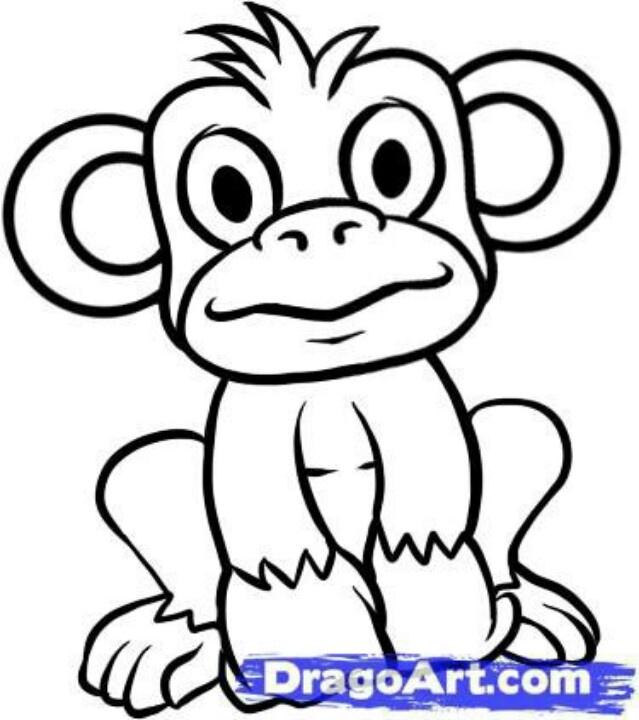 639x720 Simple Cute Monkey Drawing