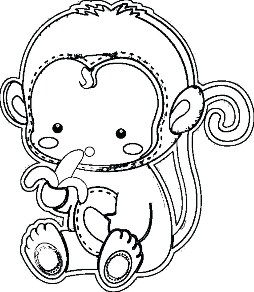 834x960 Coloring Baby Monkey Coloring Pages Sitting Page Cute Cartoon