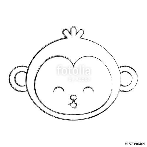 500x500 Cute Sketch Draw Monkey Face Cartoon Graphic Deisgn Stock Image