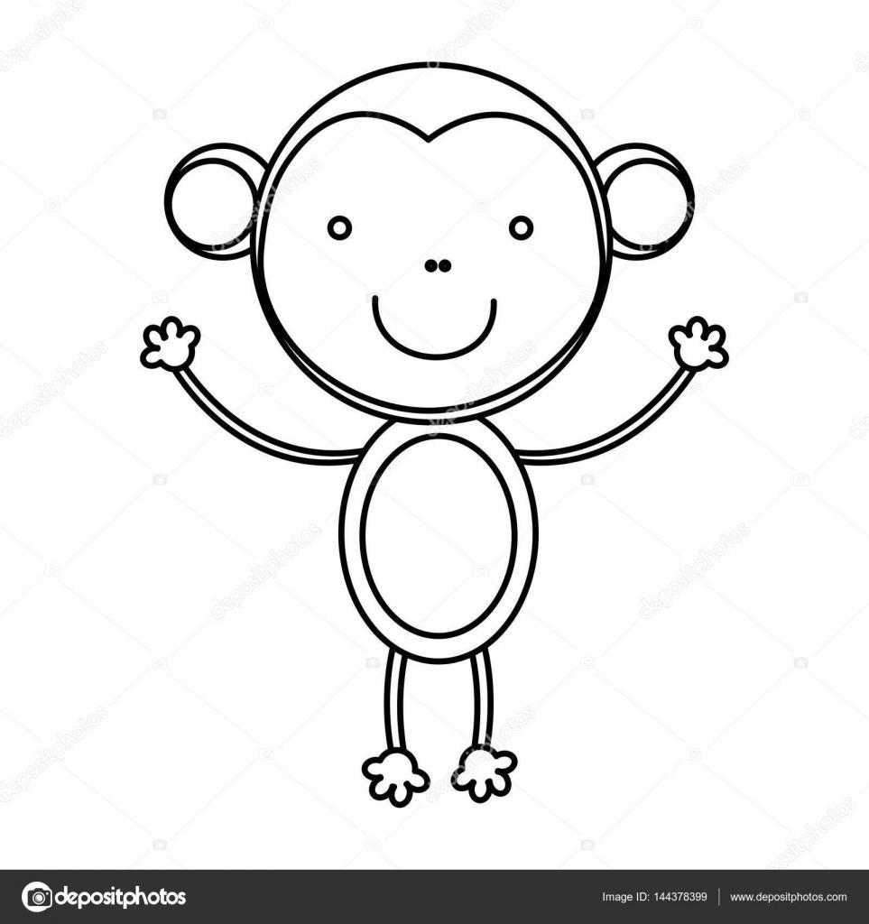 963x1024 Sketch Silhouette Cute Monkey Animal Stock Vector Grgroupstock