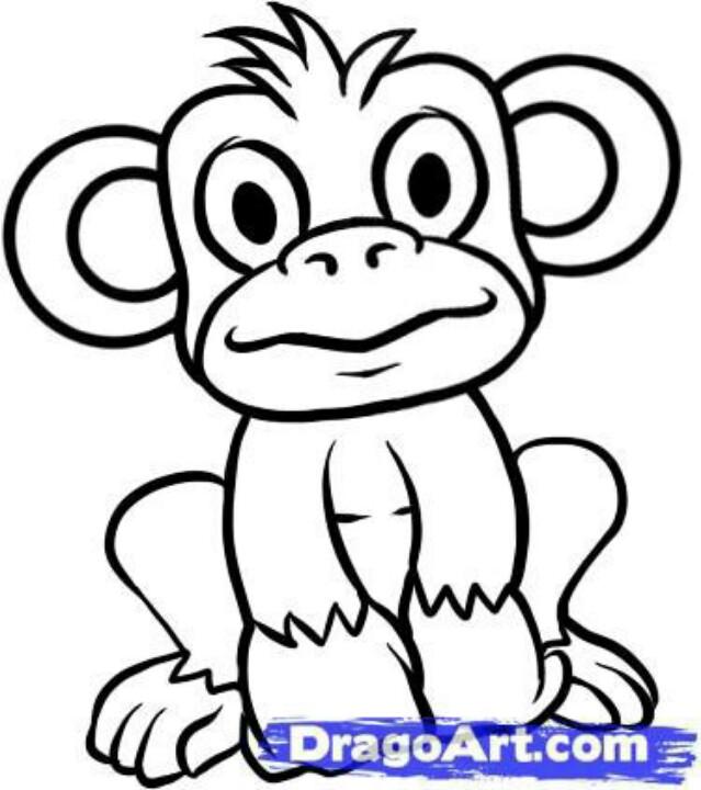 639x720 Cute And Easy Monkey To Draw Art Monkey, Monkey