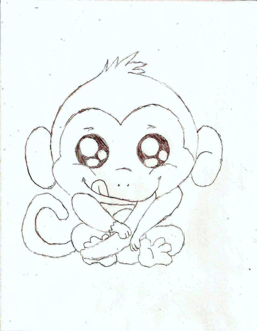 900x1159 Drawn Baby Animal Cute Monkey