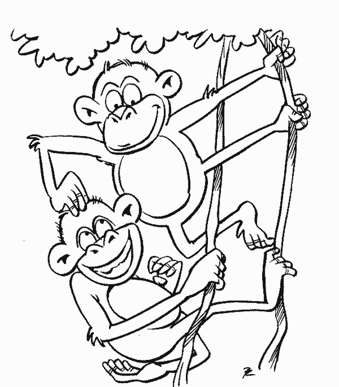 675x771 Coloring Pages For Kids Monkey Coloring Pages Feature Two