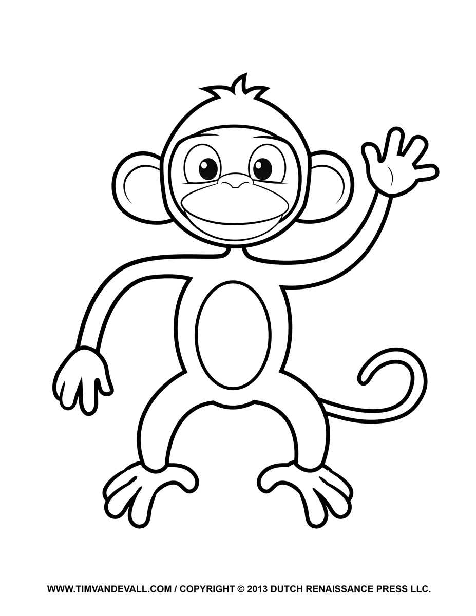 927x1200 Cartoon Monkey Coloring Pages for Kids