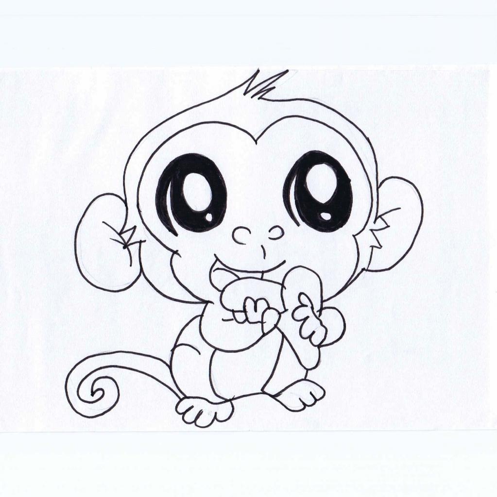 1023x1024 Cute Small Drawings Cute Monkey Drawing Free Download Clip Art