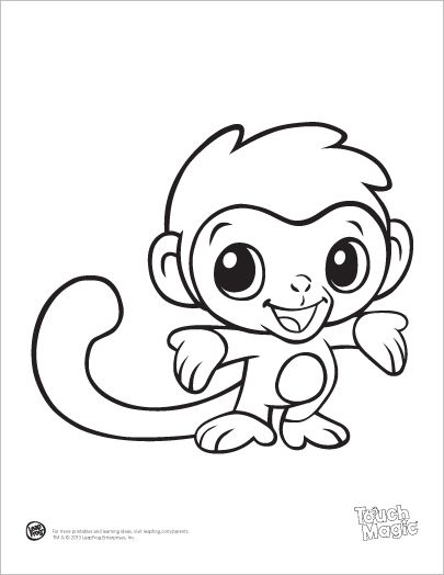 405x524 Drawn Baby Animal Cute Monkey