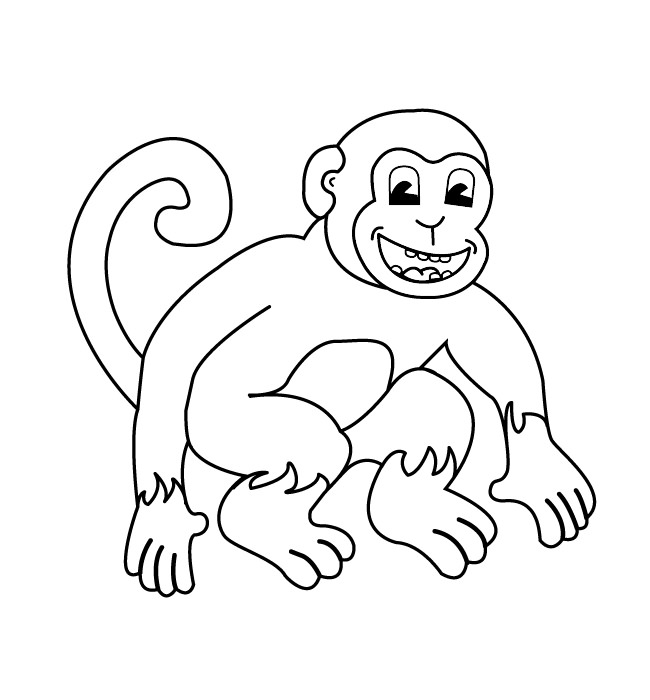 650x700 Monkey Outline Drawing