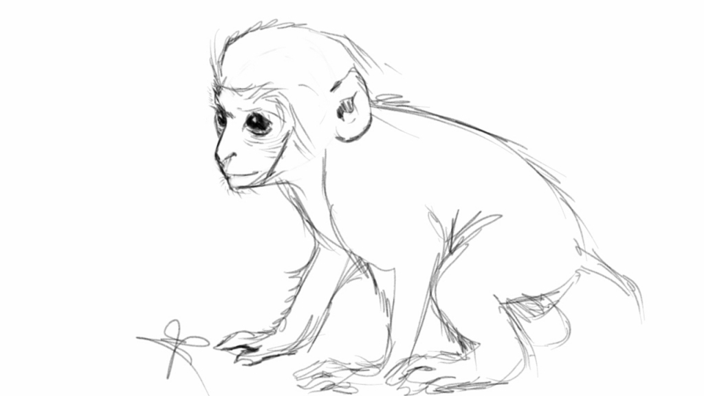 1024x576 Monkey Pencil Drawing