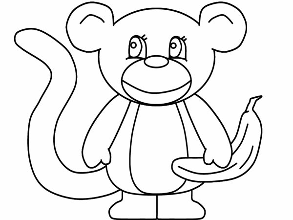 600x450 Simple Monkey Drawing Coloring
