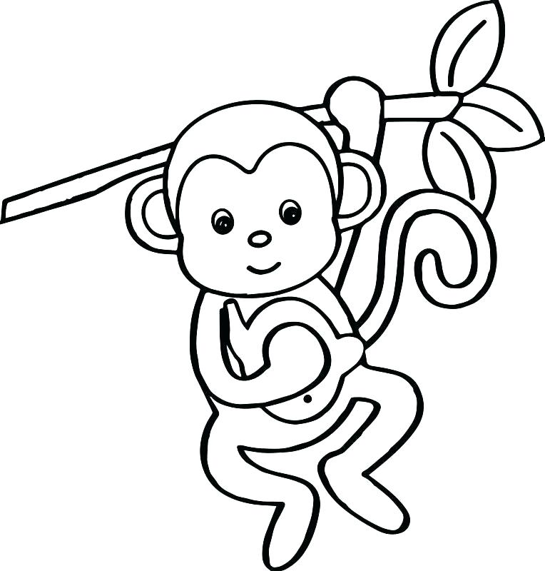 764x800 Best Monkey Coloring Pages New Monkeys 5 Little Page Free Cartoon