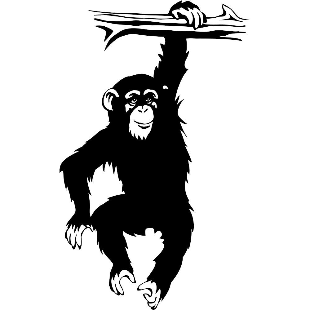 1000x1000 How To Draw A Monkey Hanging From A Tree Vinyl Decal Chimpanzee