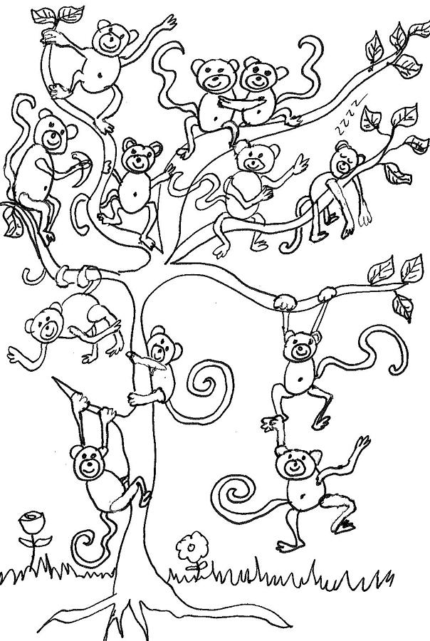 604x900 Monkey Tree Drawing By Cherie Sexsmith