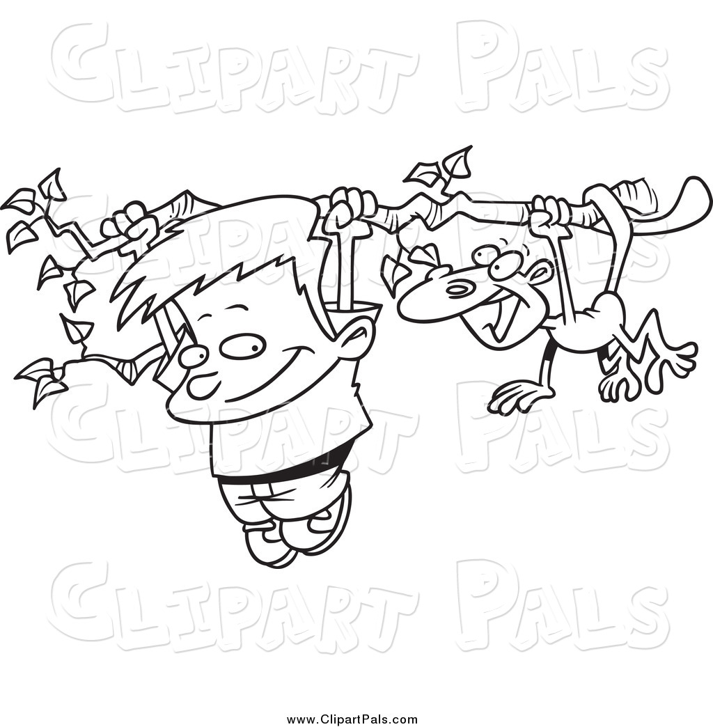 1024x1044 Pal Clipart Of Blacknd White Boynd Monkey Hanging